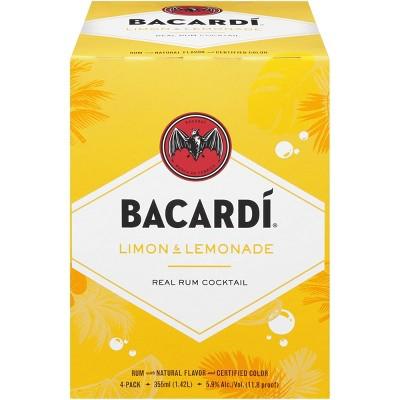 Bacardi Limon & Lemonade Rum Cocktail - 4pk/355ml Cans