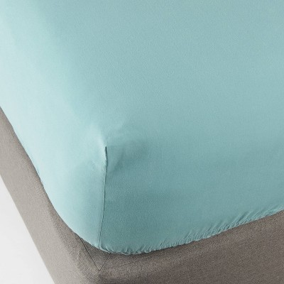 Queen 300 Thread Count Ultra Soft Fitted Sheet Ancient Aqua - Threshold™
