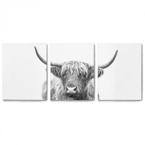 Americanflat Triptych Highland Bull Horns By Sisi And Seb Set Of 3 Canvas Prints Target