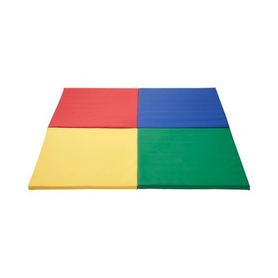 ECR4Kids SoftZone Quad Fold-N-Go Activity Mat, Colorful Toddler Tummy Time Foam Mat