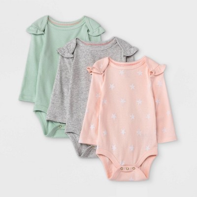 Baby Girls' 3pk Star Print Basic Ruffle Long Sleeve Bodysuit - Cloud Island™ Light Pink 0-3M