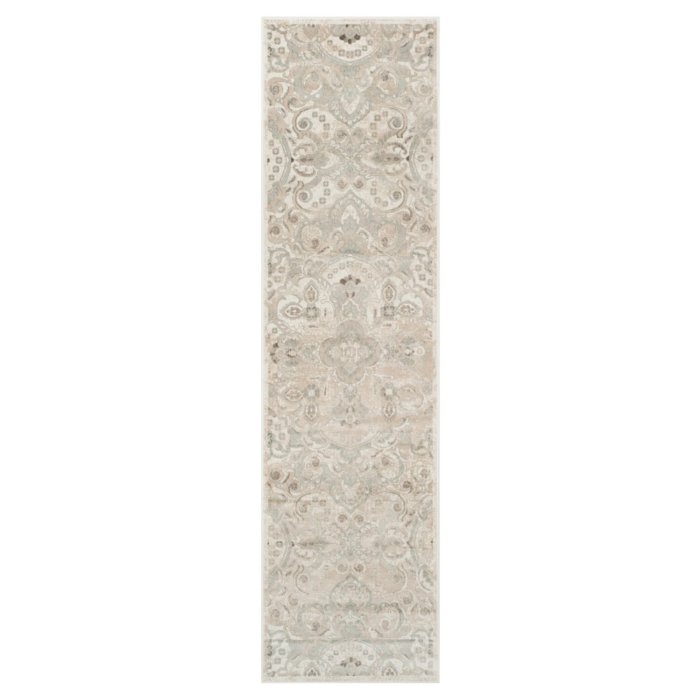 Cream/Silver Medallion Loomed Runner 2'2X8' - Safavieh, Ivory/Silver