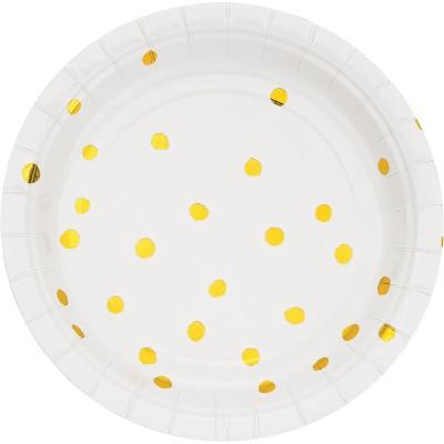 "White and Gold Foil Dot 7"" Dessert Plates - 8ct"