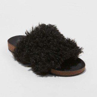 Women's Ember Two Band Faux Fur Slide Sandals - Universal Thread™ Black 7.5