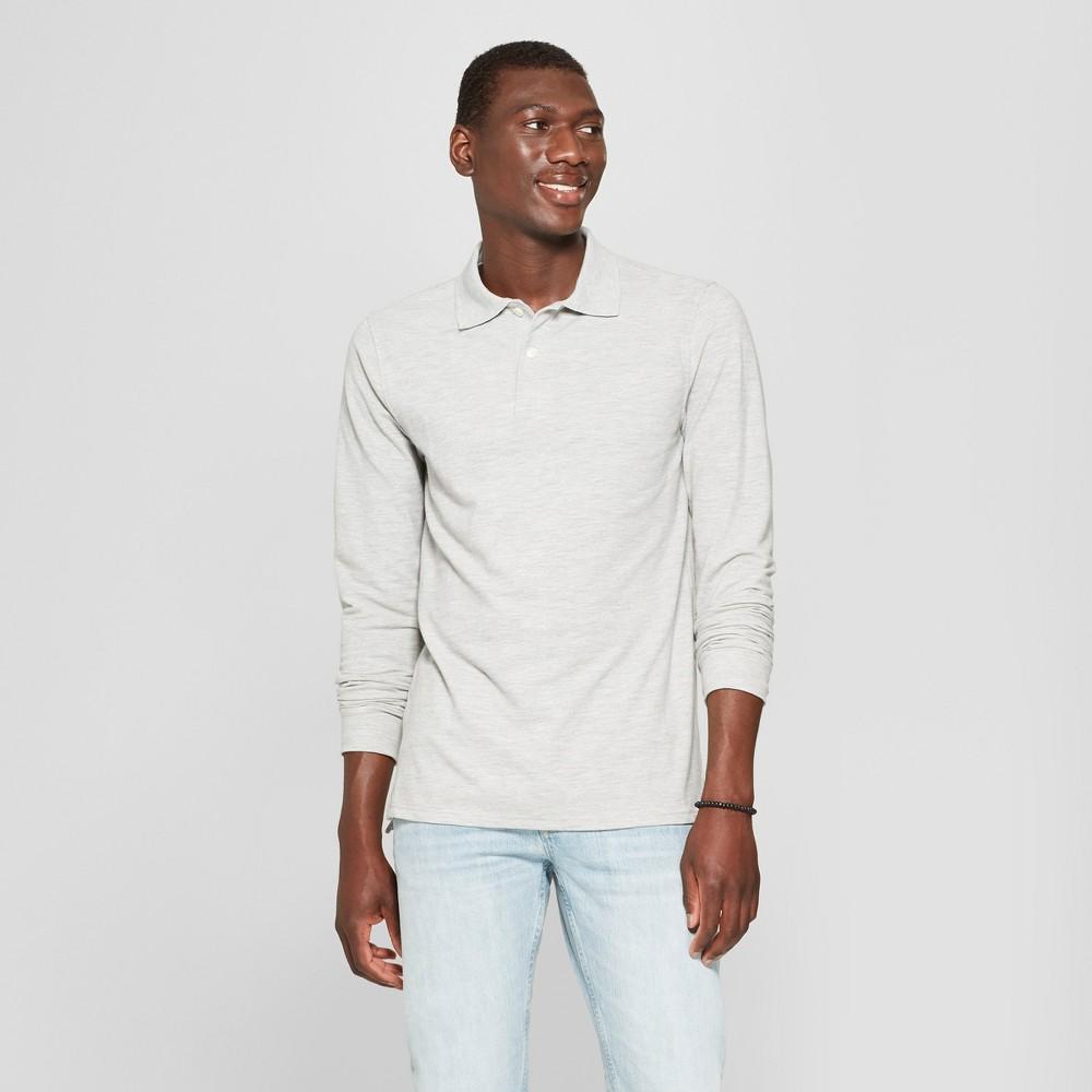 Men's Standard Fit Long Sleeve Pique Polo Shirt - Goodfellow & Co Masonry Gray M