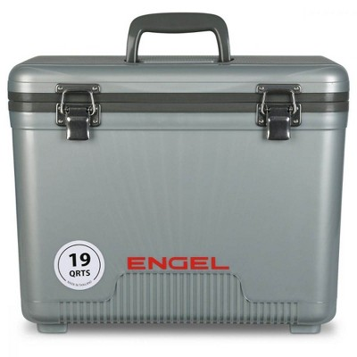 Engel UC19 19 Quart Fishing Live Bait Dry Box Ice Cooler with Stain/Odor-Resistant Surface and Shoulder Strap, Silver