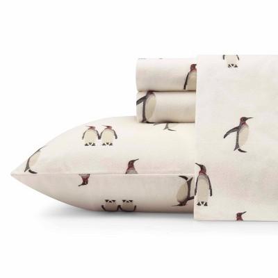King Patterned Flannel Sheet Set Gray Penguins - Eddie Bauer