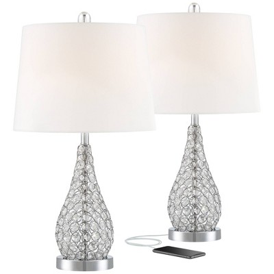 360 Lighting Modern Accent Table Lamps Set of 2 with Hotel Style USB Charging Port Chrome Empire Shade for Living Room Family Bedroom Bedside