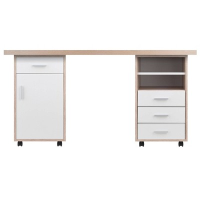 3pc Kenner Set Modular Desk With 4 Drawers & 2 Shelves Reclaimed Wood - Winsome