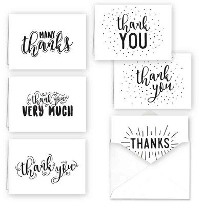36ct Typography Thank You Assortment Card Set