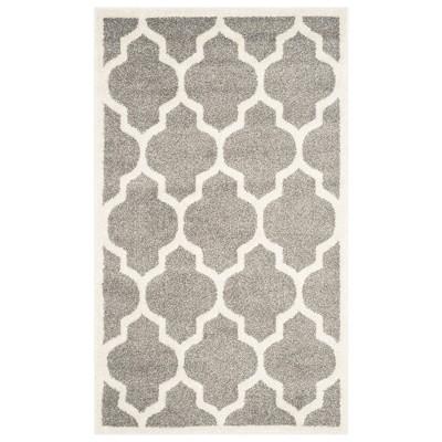 Amherst Rectangle 4' X 6' Outdoor Patio Rug - Dark Gray / Beige - Safavieh®