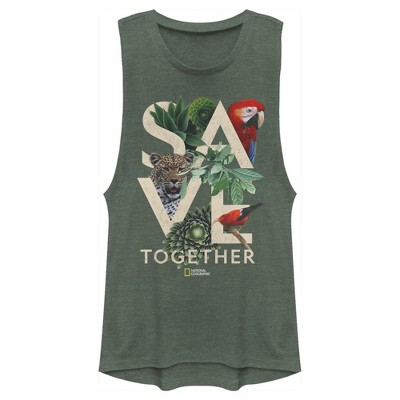 Junior's National Geographic Save Together Tropical Festival Muscle Tee