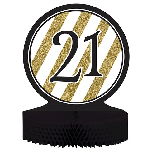 Black Gold 21st Birthday Centerpiece Target