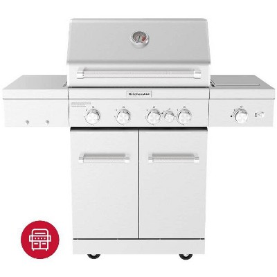 KitchenAid 4-Burner Gas Grill with Rear and Searing Side Burners and Grill Cover 720-0954CO