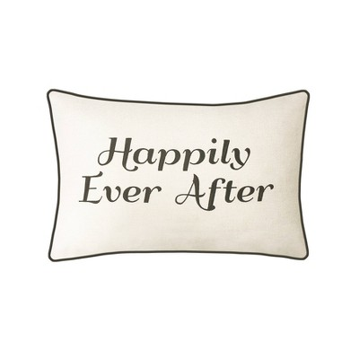 """""""Happily Ever After"""" Poly Velvet Lumbar Throw Pillow Ivory - Edie@Home"""