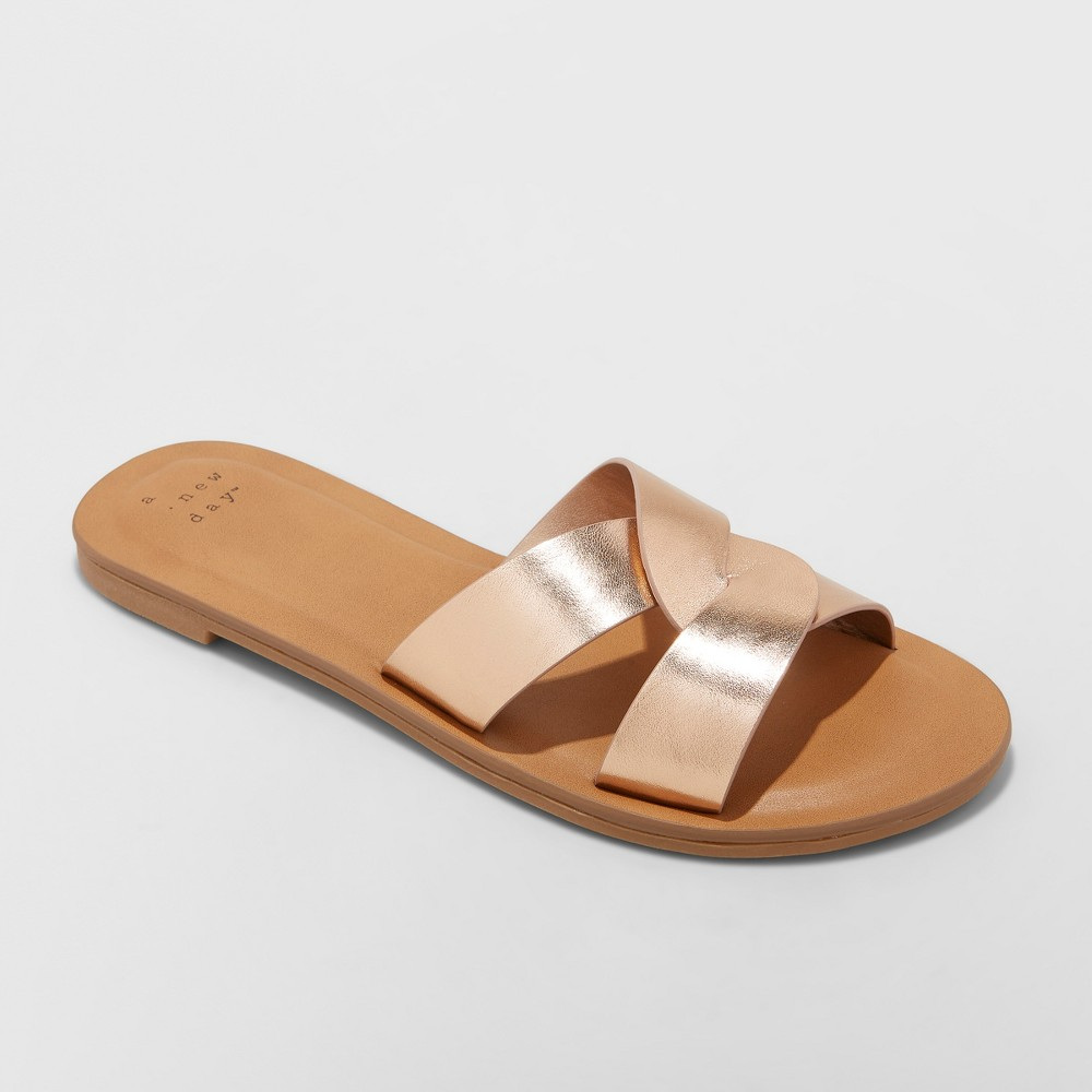 Women's Trina Crossband Slide Sandals - A New Day Rose Gold 6.5