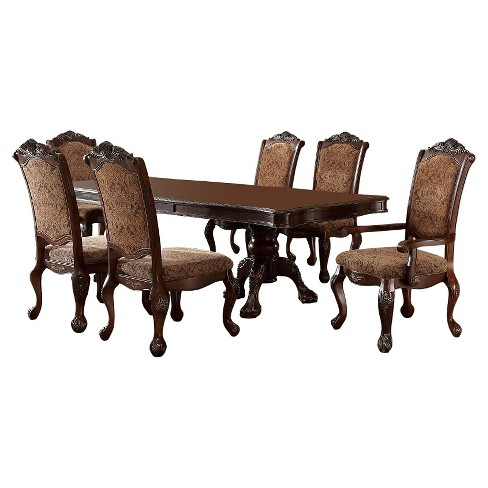 Sun Pine Pc Elegant Claw Feet Dining Table Set In Antique Cherry - Claw foot dining room table