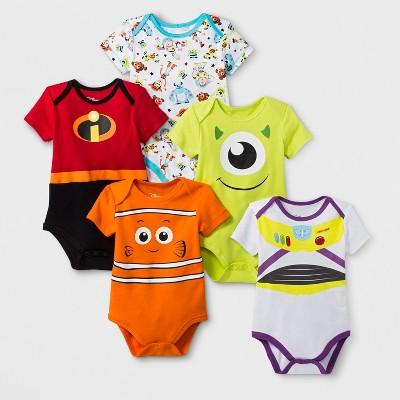 Baby 5pk Disney Pixar Short Sleeve Bodysuit - 3-6M