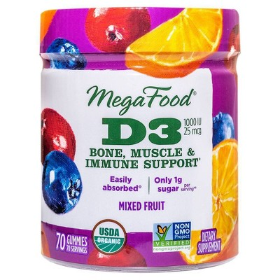 MegaFood D3 Wellness Gummies - Mixed Fruit - 70ct