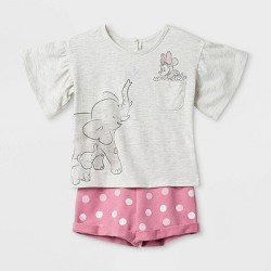 Toddler Girls' Disney Minnie Mouse Tee And Shorts Set - Pink/White