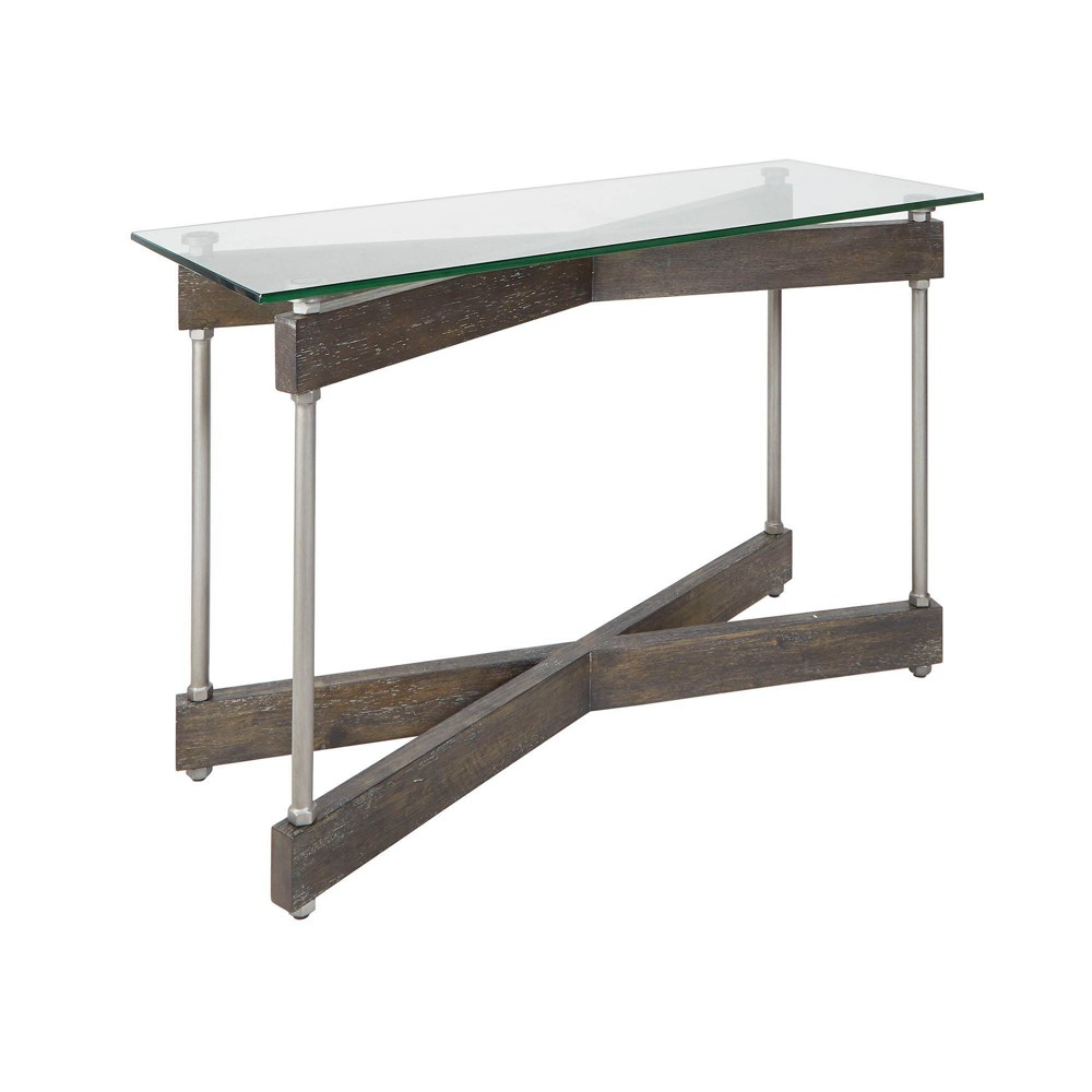 Image of Garth Glass and Wood X-Frame Console Table Brown - Silverwood, Brown Silver
