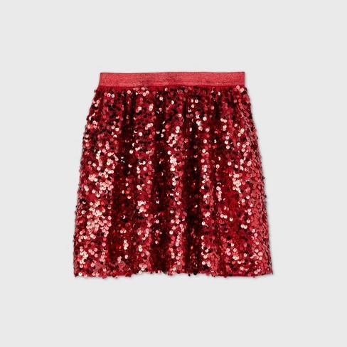 Girls' Sequin Tutu Skirt - Cat & Jack™ Red - image 1 of 2