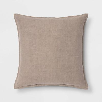 Oversized Square Reversible Linen Throw Pillow with Self Flange Neutral - Threshold™