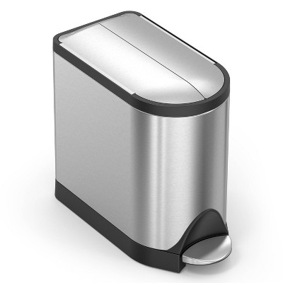 simplehuman 10L Butterfly Steel Step Trash Can Brushed Silver