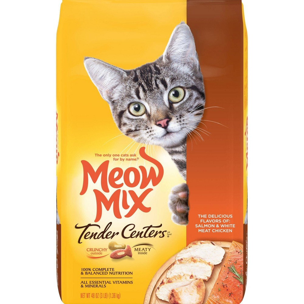 Meow Mix Tender Centers With Flavors Of Salmon 38 Chicken Adult Complete 38 Balanced Dry Cat Food 3lbs