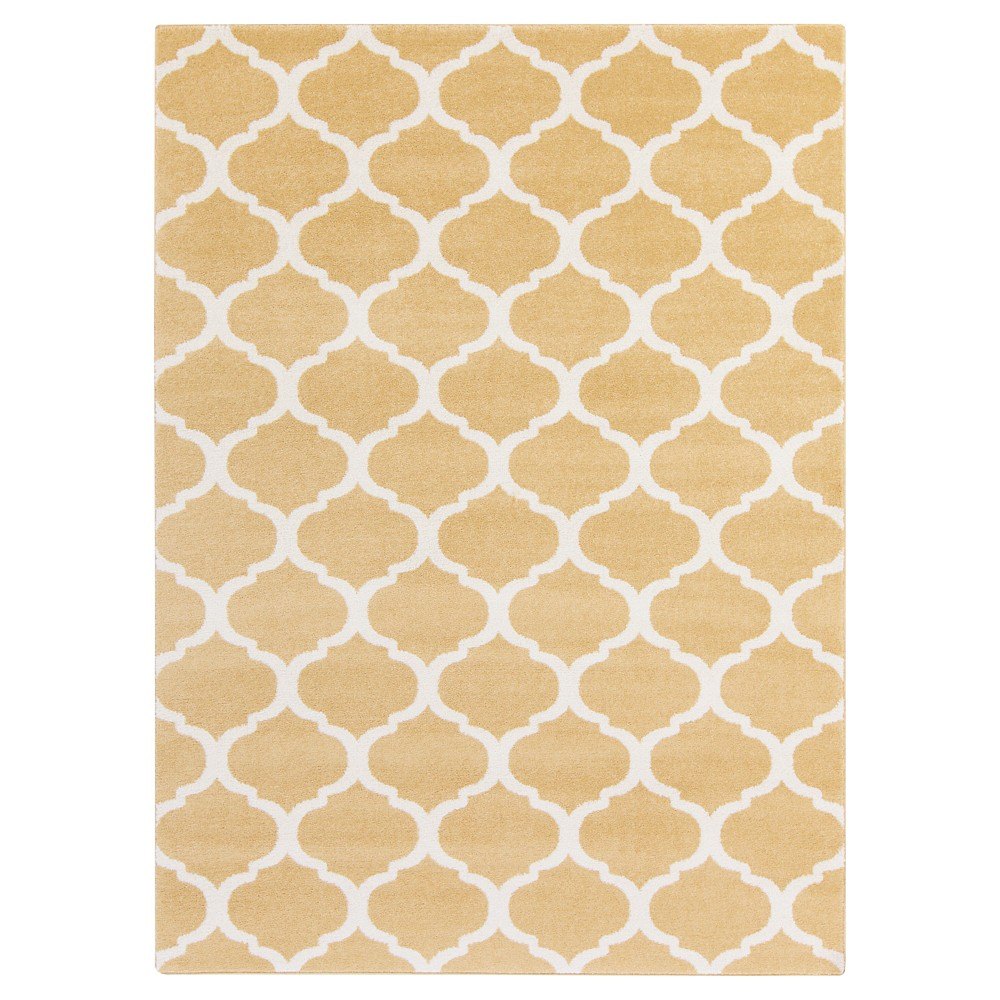 Mustard (Yellow) Abstract Tufted Area Rug - (6'7