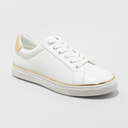 Women's Cache Lace Up Sneakers - A New Day™ White - image 1 of 3