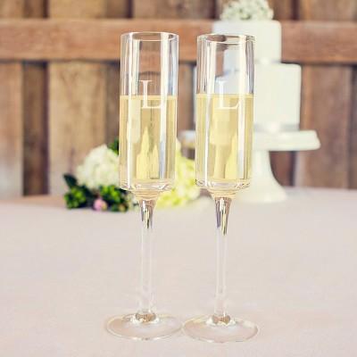 2ct Monogram Contemporary Wedding Champagne Flutes