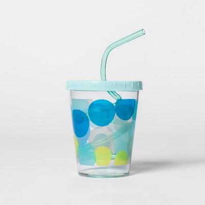 15oz Plastic Kids Swirly Straw Cup Blue - Pillowfort™