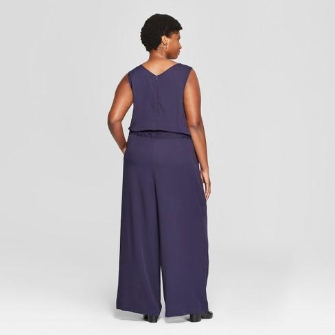 8b2d857e46c Women s Plus Size Tie Waist Jumpsuit - Ava   Viv™ Navy   Target
