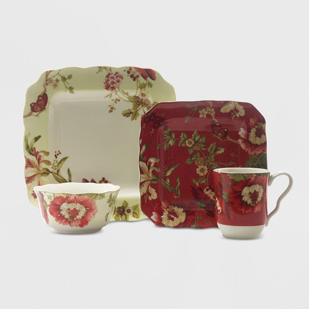 Image of 16pc Porcelain Lutece Dinnerware Set Red/White - 222 Fifth, Multi-Colored