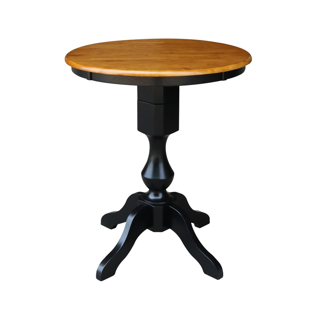 "Image of ""30"""" Lucy Round Top Pedestal Table Counter Height Black/Cherry - International Concepts"""