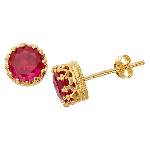 6mm Round-cut Ruby Crown Earrings in Gold Over Silver - image 1 of 1