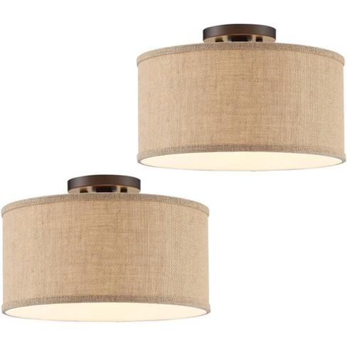 360 lighting rustic farmhouse ceiling light semi flush mount fixtures set of 2 bronze burlap fabric drum bedroom kitchen hallway