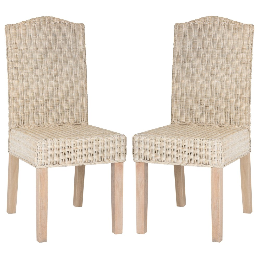 Odette Wicker Dining Chair - White Washed (Set of 2) - Safavieh