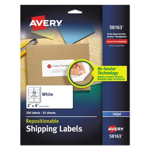 Avery® 2 x 4 Re-hesive Inkjet Labels- White (250 per Pack) - image 1 of 2
