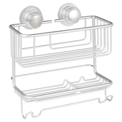 Rustproof Aluminum Turn-N-Lock Suction Bathroom Shower Combo Basket 2 Tiers Silver - iDESIGN