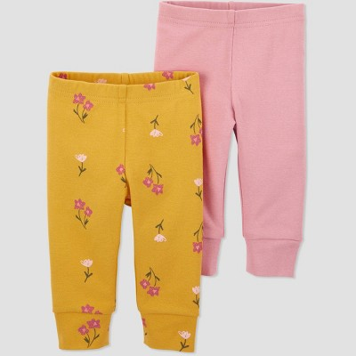 Baby Girls' 2pk Floral Pull-On Pants - Just One You® made by carter's Pink/Gold 3M