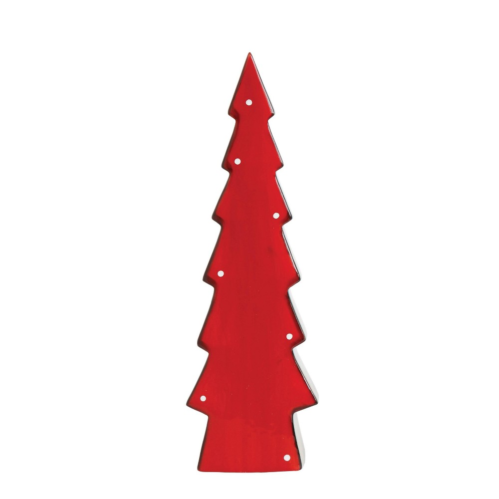 """Image of """"13.5"""""""" Stoneware Christmas Tree Red with Grey Edges - 3R Studio"""""""