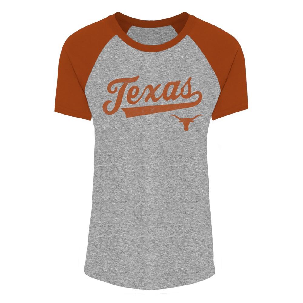 Texas Longhorns Women's Short Sleeve Short Sleeve Sharon Gray Raglan Scoop Neck T-Shirt XS