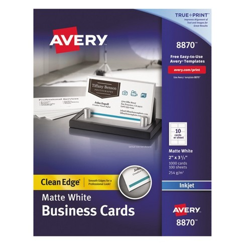 avery two side printable clean edge business cards inkjet 2 x 3 12 white 1000box