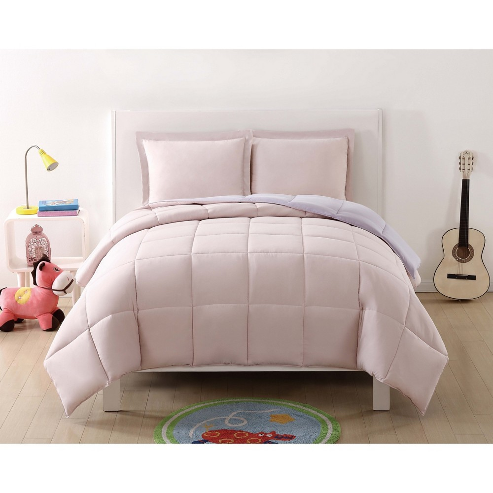 Image of Full/Queen Anytime Solid Comforter Set Blush/Lavender - My World