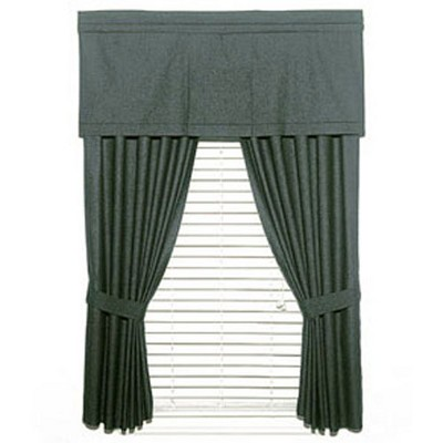 2pc Solid Black Denim Window Drapery Panel Curtain Set - Dan River..