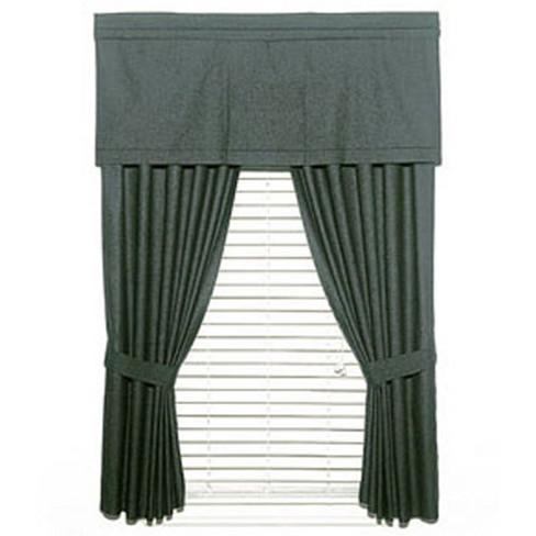 2pc Solid Black Denim Window Drapery Panel Curtain Set - Dan River.. - image 1 of 2