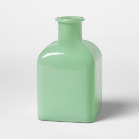 Square Milkglass Vase Large Green Hearth Hand With Magnolia