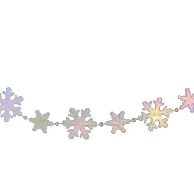 """Northlight 8' x 1"""" Clear and Pink Iridescent Snowflake Beaded Artificial Christmas Garland - Unlit"""